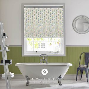 Blue-green pattern bathroom roller blind with fabric from Style Studio - Blinds Norfolk - Norwich Sunblinds
