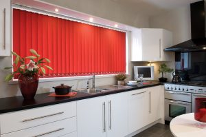 Red vertical blinds for the kitchen made
