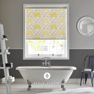 Hydrangea Primrose bathroom Roller blind, Grey multi-coloured yellow, made with fabric from Style Studio
