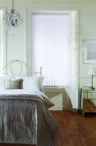 Vertical blinds made from flutter white fabric