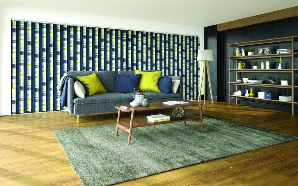 Vertical blinds made from Louvolite's Como Ocra fabric alternated with plain Carnival navy fabric