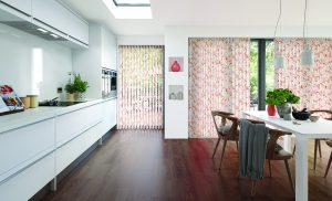Vertical blinds made using Tropicana Singapore Sling fabric