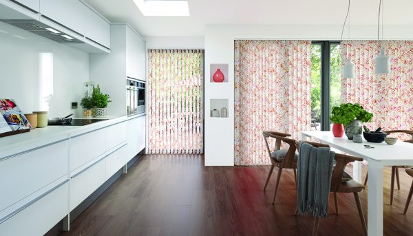 Vertical blinds made using Tropicana Singapore Sling fabric - Blinds Norfolk - Norwich Sunblinds