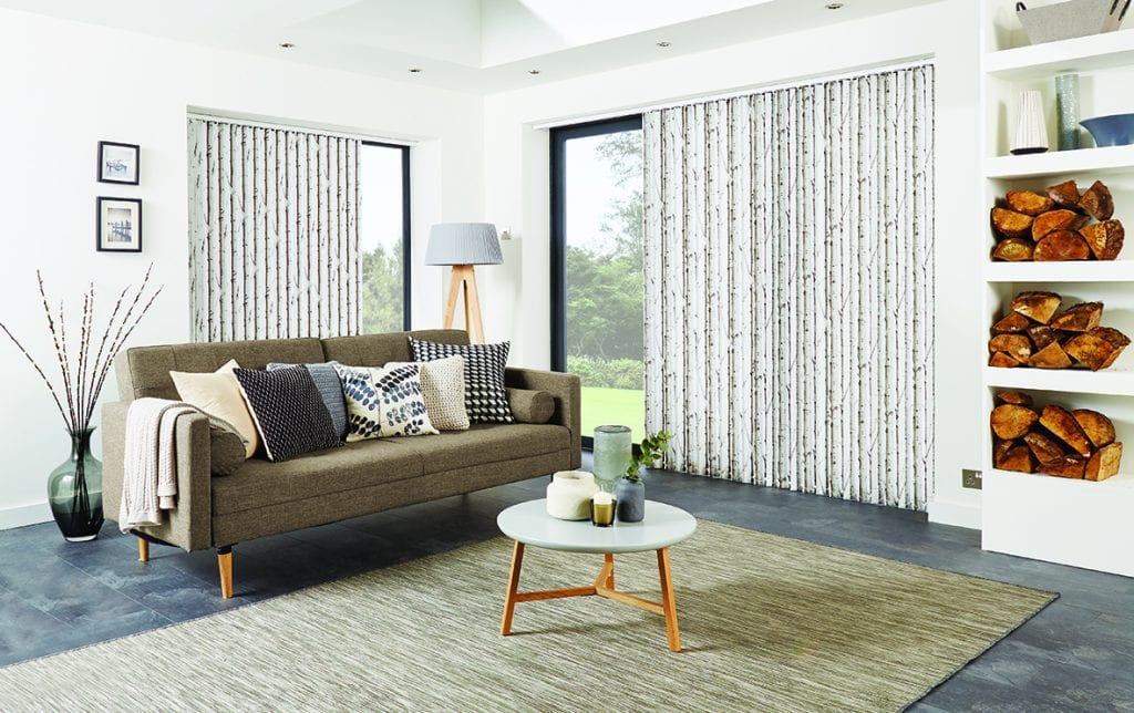 This Woodland Silver fabric looks stunning in these vertical blinds