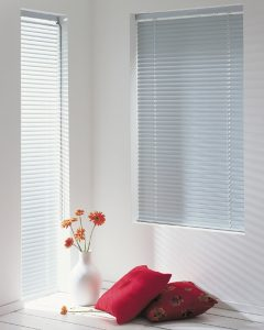 White venetian blinds