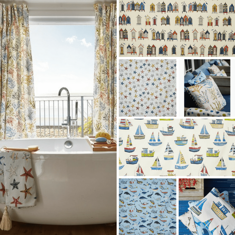 Close ups of sailing boats, starfish and beach hut fabric designs as well as bathroom curtains.