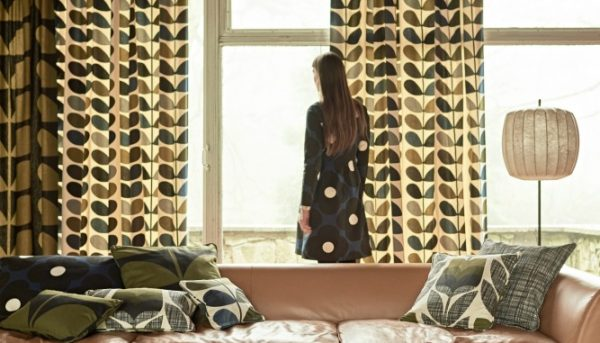 Orla Kiely Olive curtains