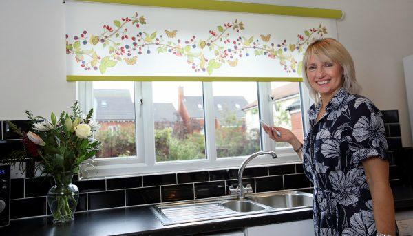 Limited edition bramble design motorised roller blinds in kitchen - Blinds Norfolk - Norwich Sunblinds
