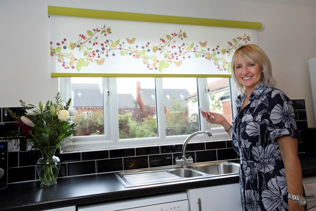 Limited edition bramble design motorised roller blinds in kitchen