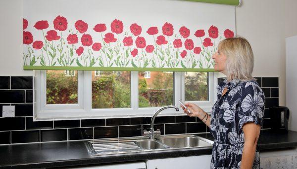 Poppy designs on kitchen motorised roller blind - Blinds Norfolk - Norwich Sunblinds