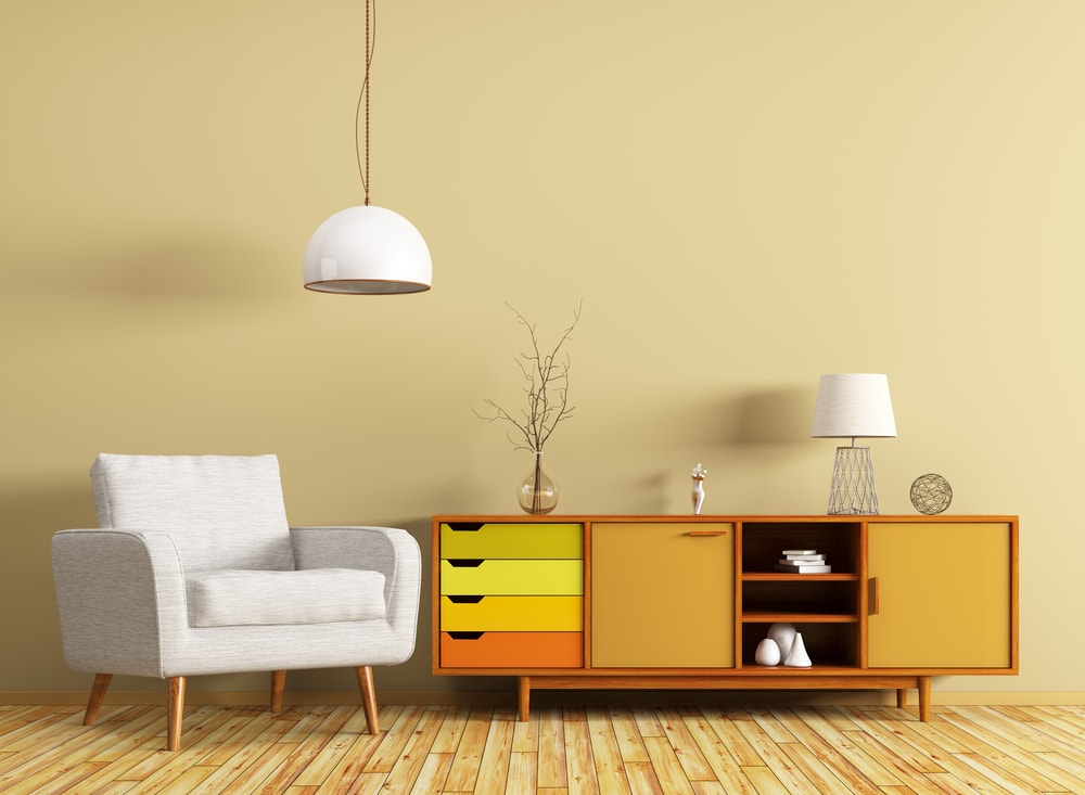 Retro style wooden sideboard with yellow highlights