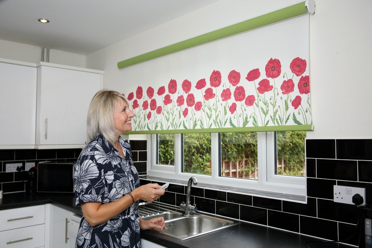 Limited edition poppy design roller blind