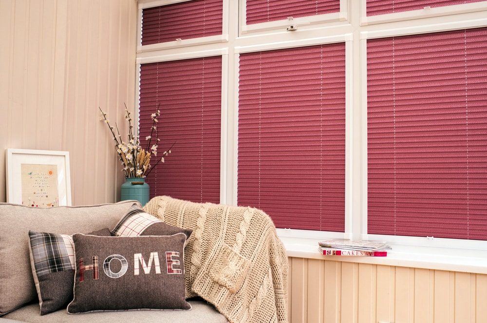burgundy perfect fit pleated blinds