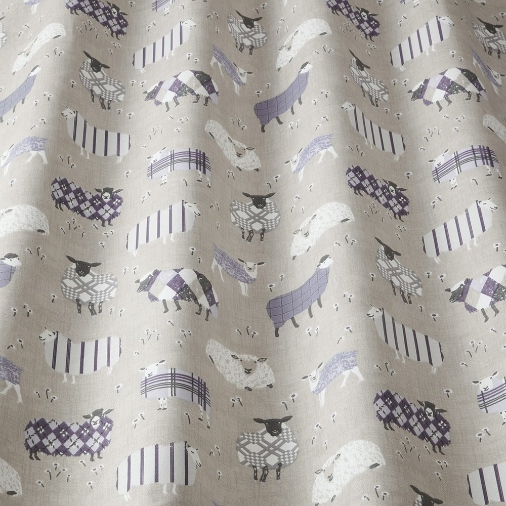 Sheep in lavender fabric sample from the Henley collection of fabrics designed by iLiv