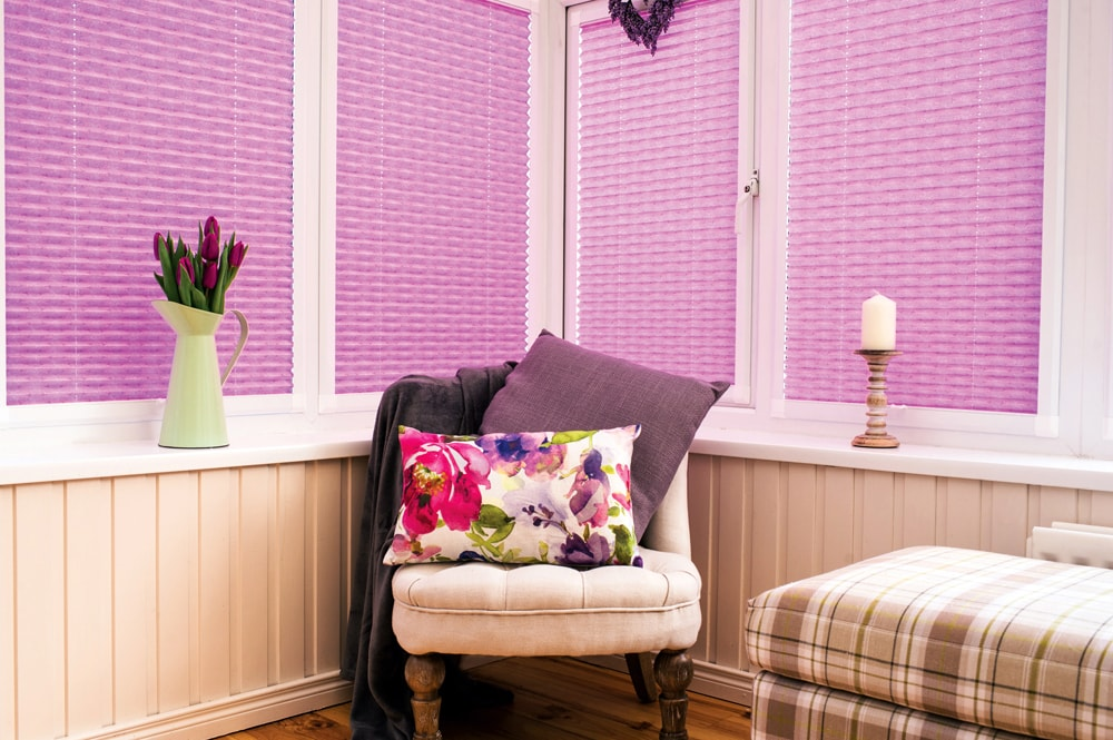 Pink pleated perfect fit blinds