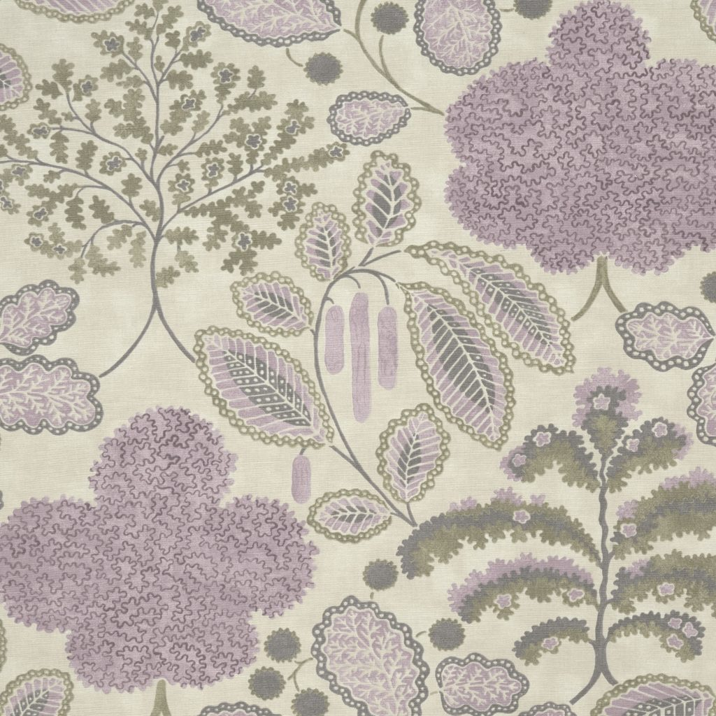 Pretty floral fabric sample in shades of lilac from the Bloomsbury range of fabrics by Clarke & Clarke