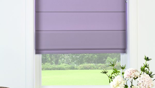 Roman blind with Iris fabric by Louvolite - Blinds Norfolk - Norwich Sunblinds