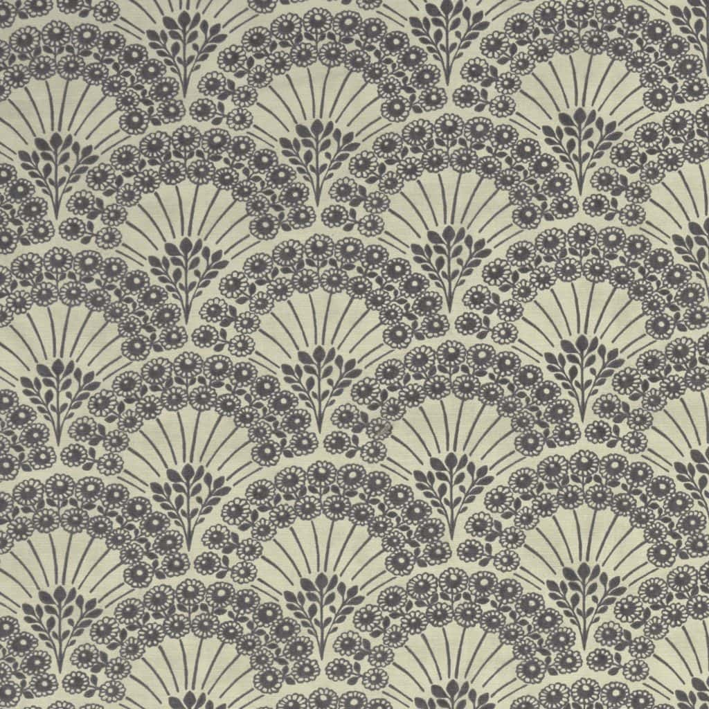 Fabric sample grey pattern Bloomsbury print