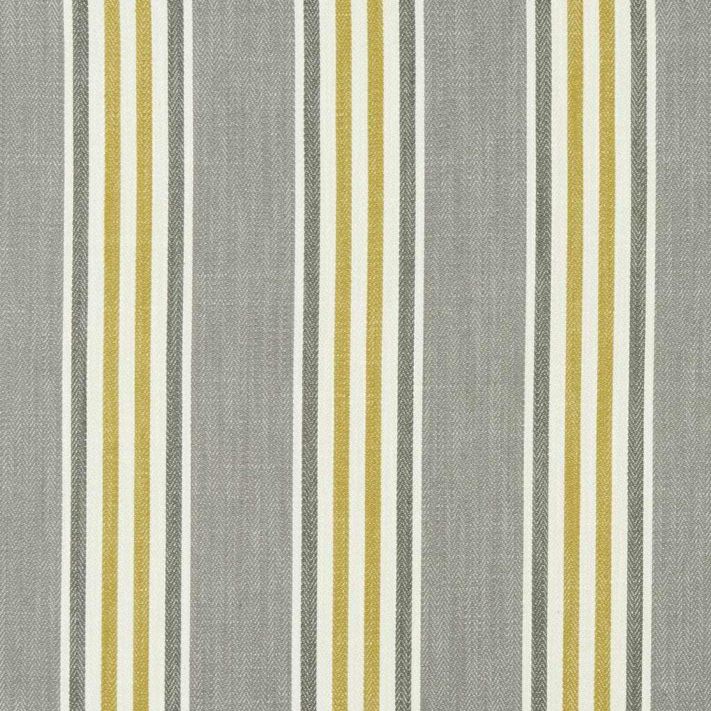 Fabric sample with grey, yellow and cream stripe