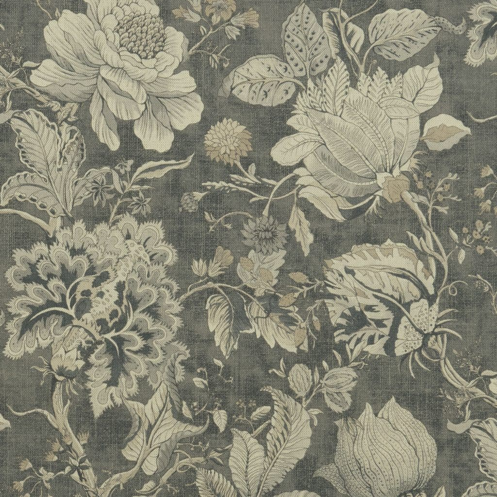Fabric sample with floral cream pattern on a grey background