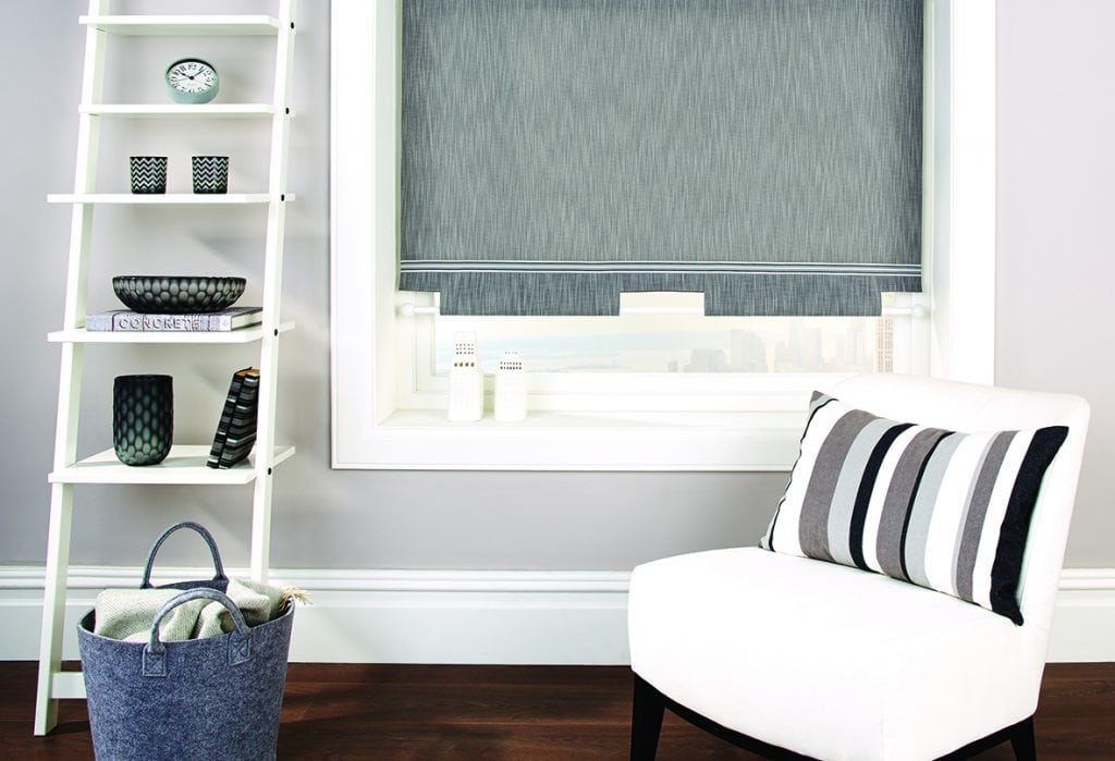Grey roller blind in the living room