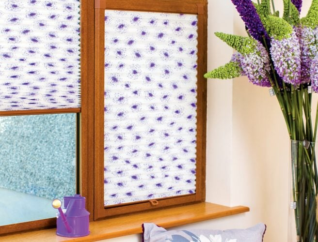 Perfect fit pleatd blinds in lilac on cream