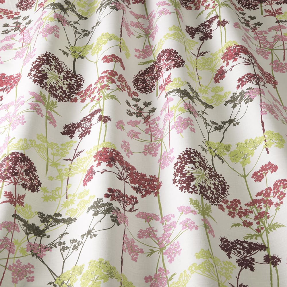 fabric sample with delicate hedgerow magenta flower design