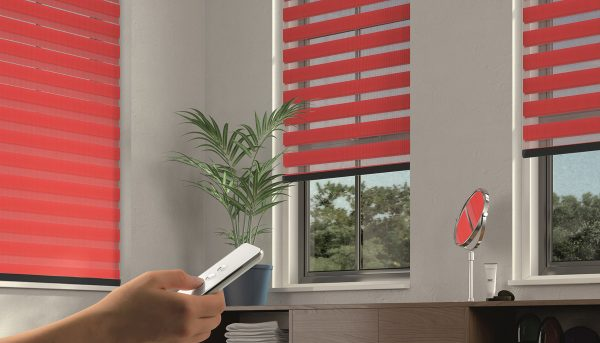 red bathroom motorised blinds