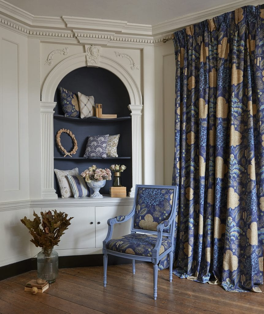 Full length curtains in navy and gold luxurious fabric