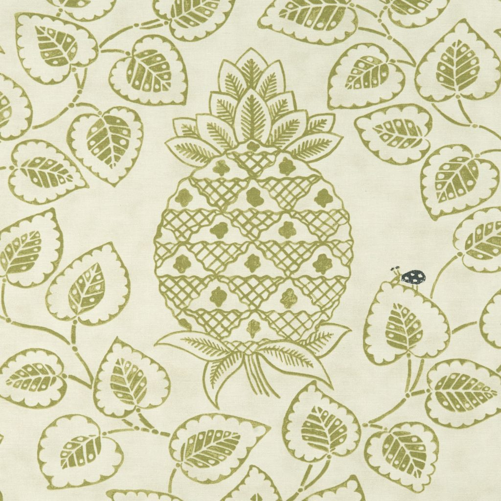 Green and cream fabric swatchwith pineapple and leaf design