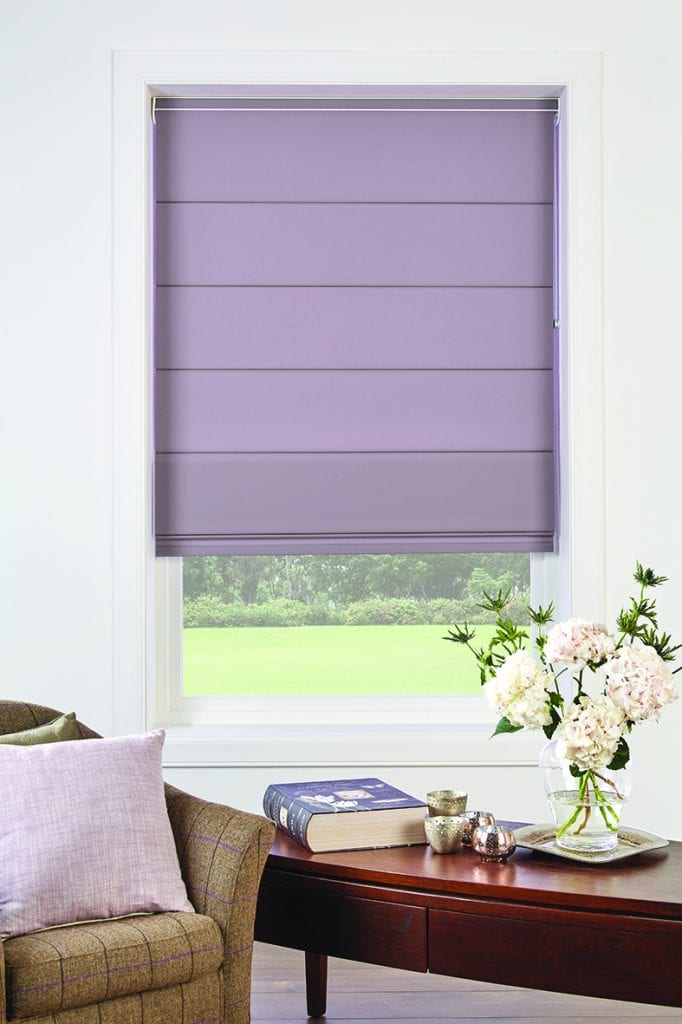 Lilac roman blinds