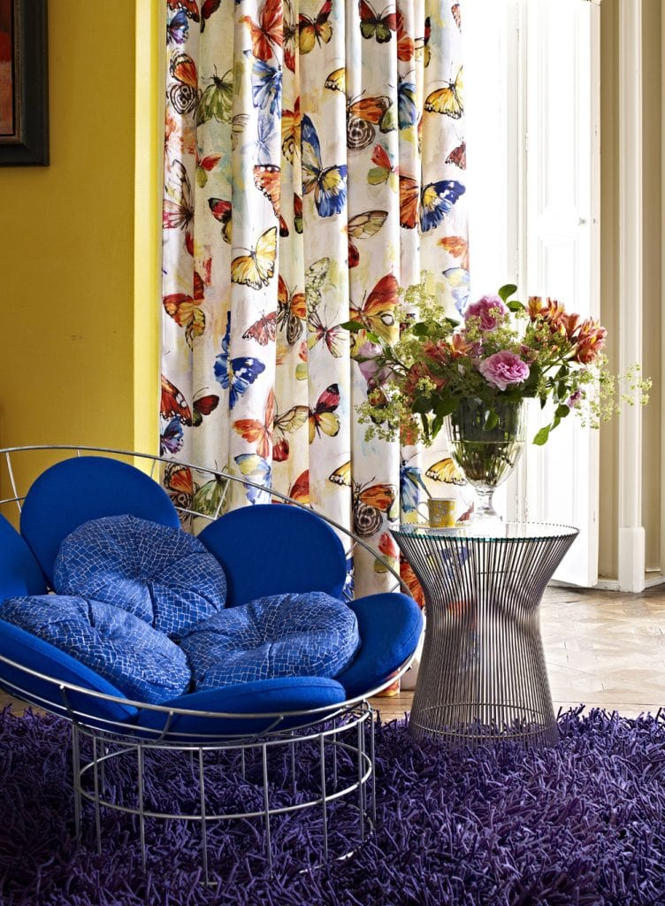 Butterfly design fabric curtains