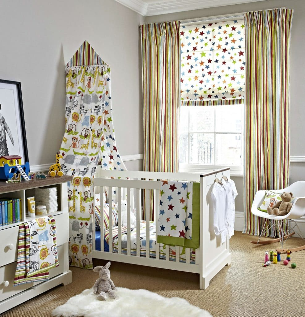Childrens blinds, curtains and soft furnishings with matching jungle animal print, stars and stripes fabrics.