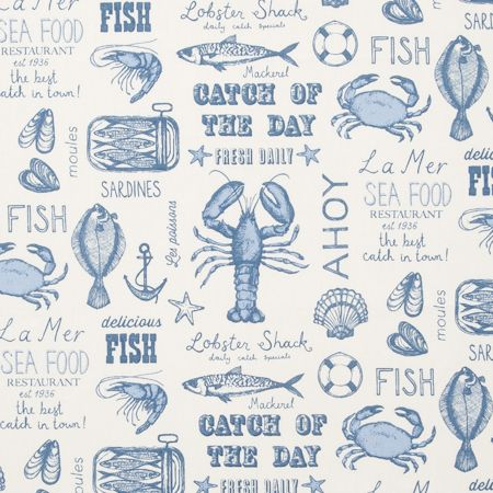 Fabric sample showing blue seafood designs on cream background