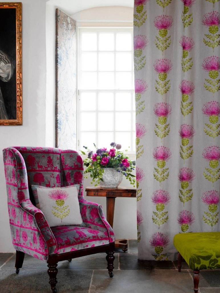 Pink and green thistle pattern on white background - floor to ceiling curtains