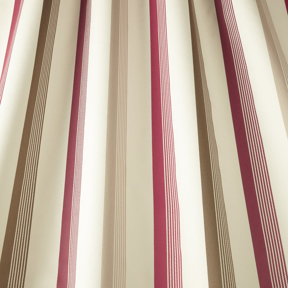 Fabric swatch -ruby, green, fawn and cream stripes
