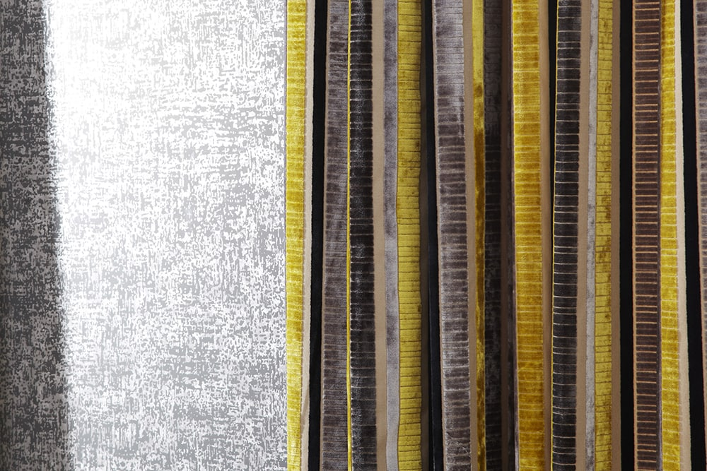 Yellow and brown velvety fabric - close up of curtains