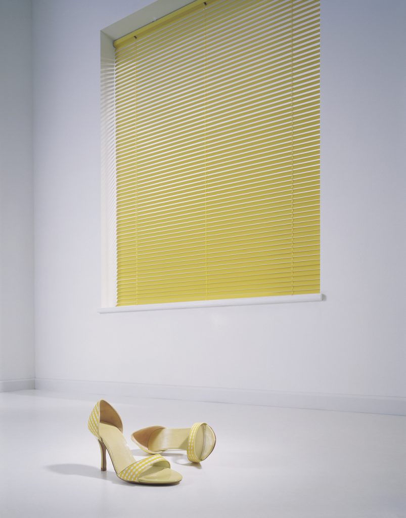 Yellow venetian blinds