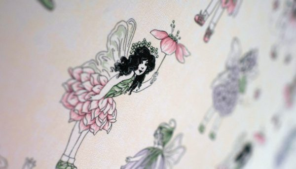 Purple Flower fairies with cream background in close up image of roller blind - Blinds Norfolk - Norwich Sunblinds