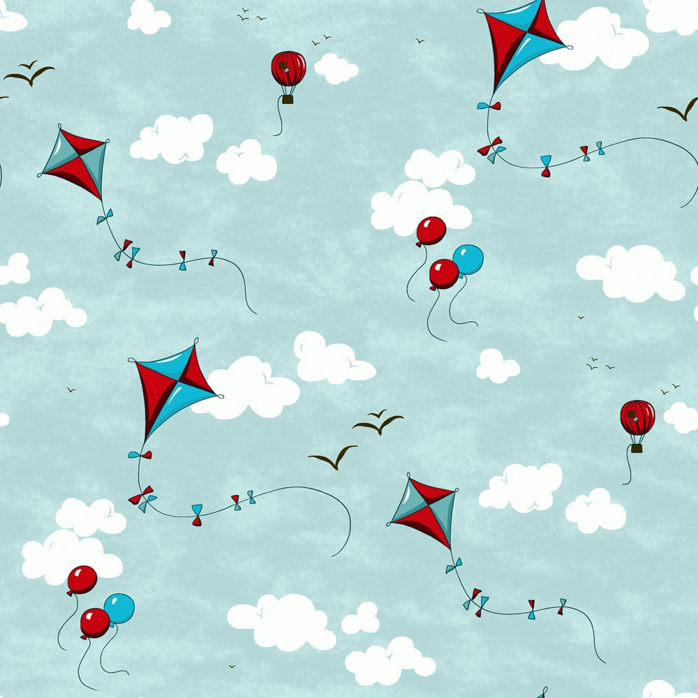 digital fabric sample showing red and blue kites in a blue sky