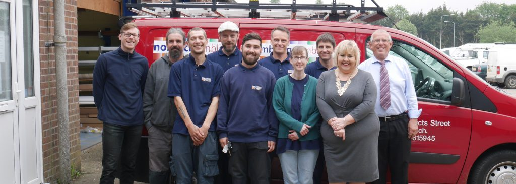 The Norwich Sunblinds team outside the Attleborough factory and showroom