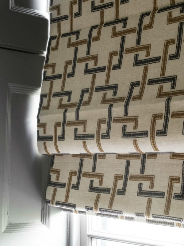 Close up cream and brown roman blind - Blinds Norfolk - Norwich Sunblinds