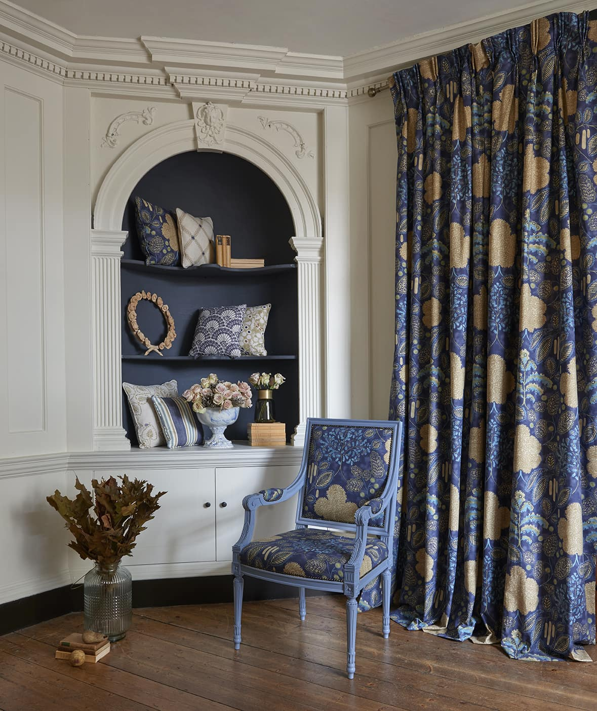 Blue patterned full length curtains