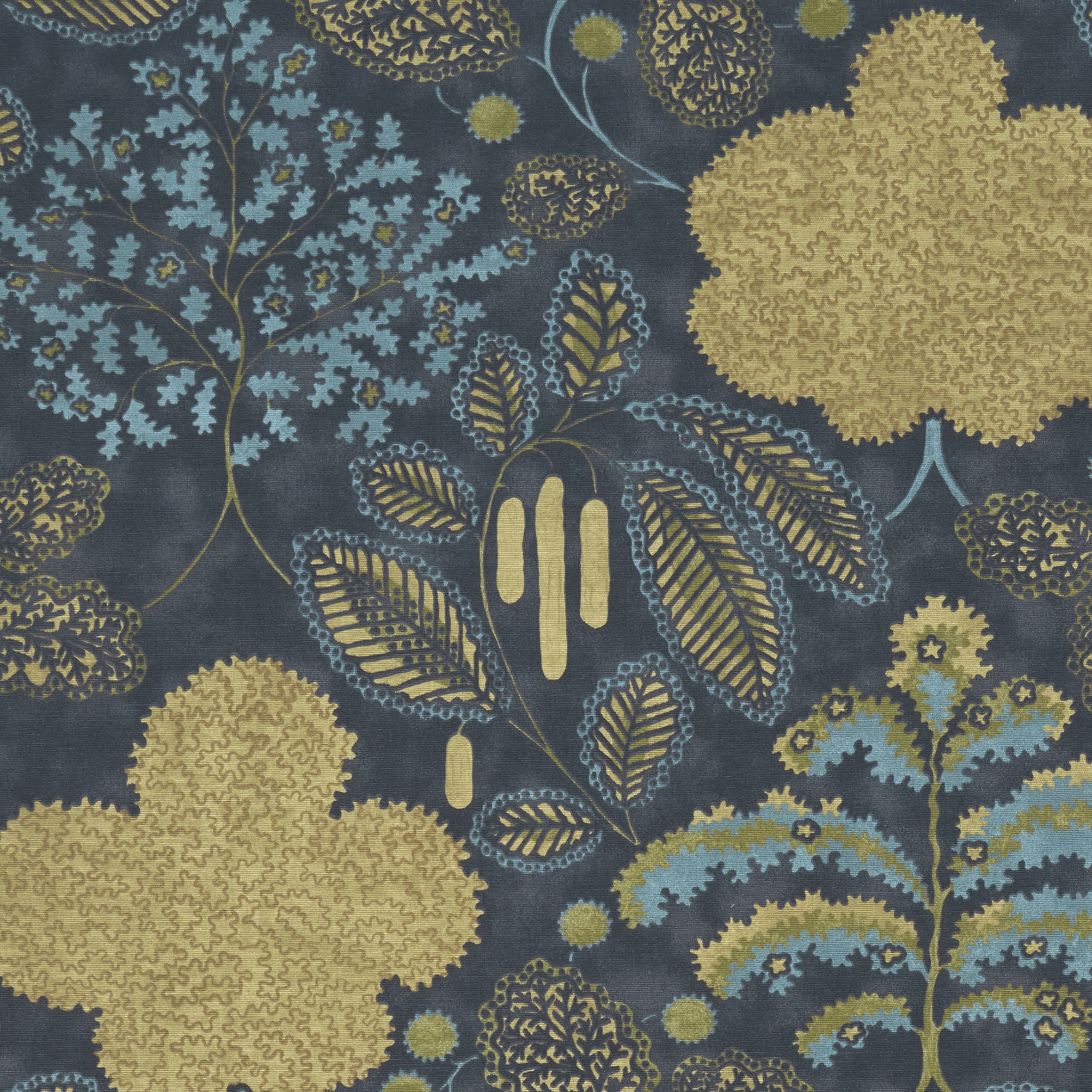 Close up of teal and gold leaf patterned fabric sample.