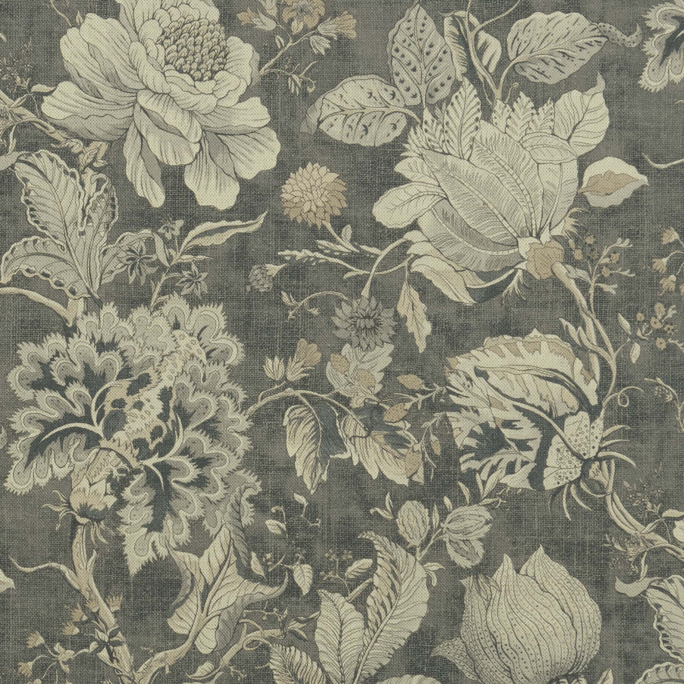 Cream flowers on a dark green background fabric sample