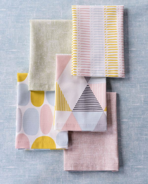 Pastel coloured fabric samples