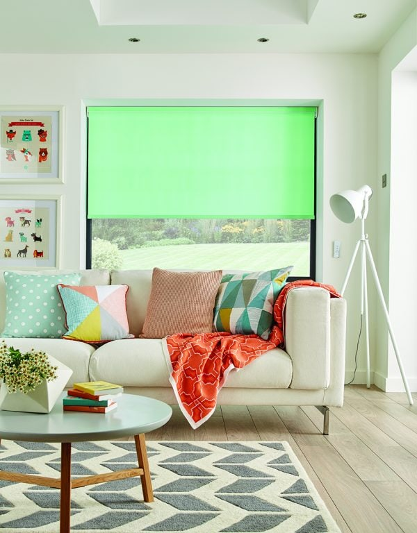 Bright Peppermint coloured roller blind in living room