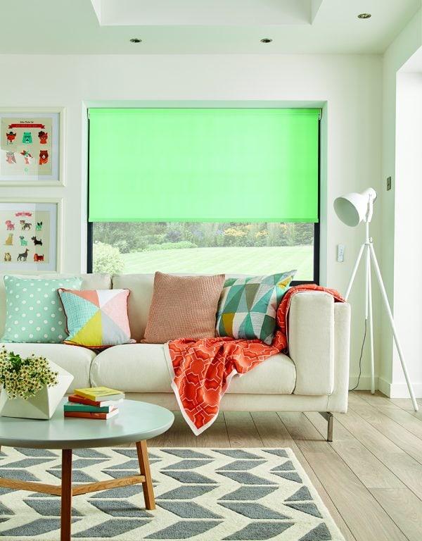Bright Peppermint coloured roller blind in living room - Blinds Norfolk - Norwich Sunblinds