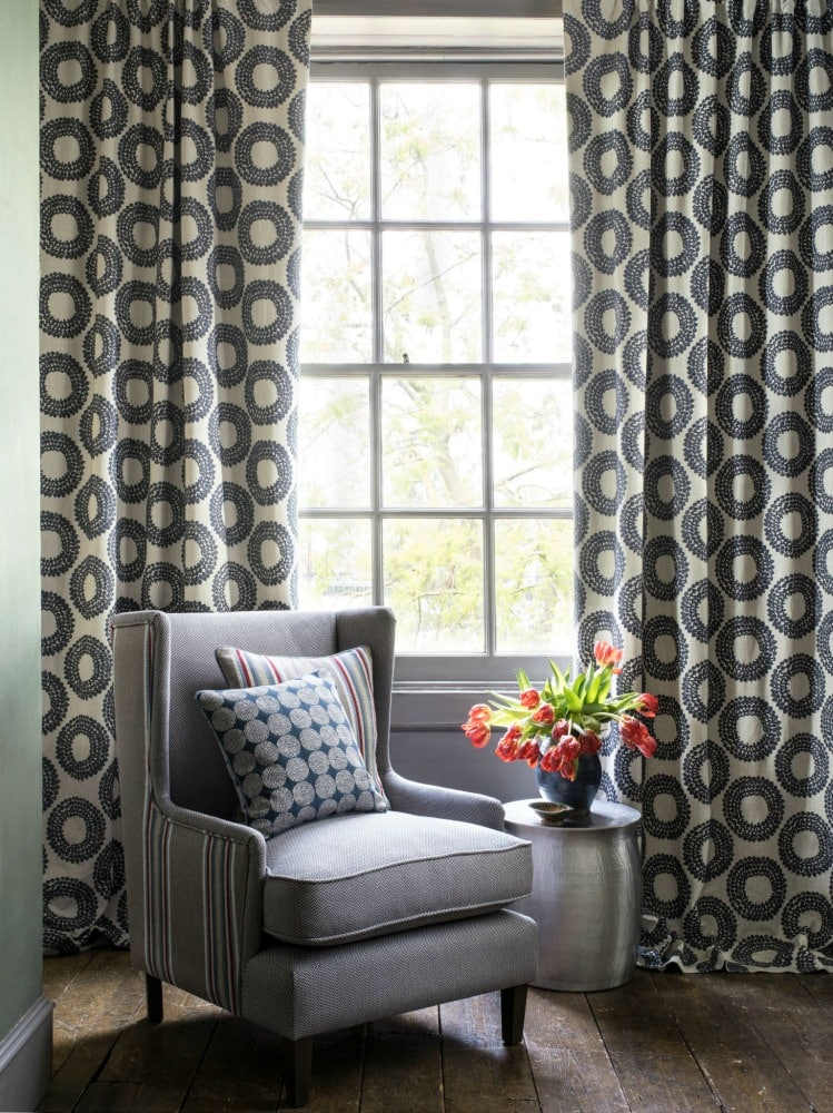 Geometric patterned floor length curtains