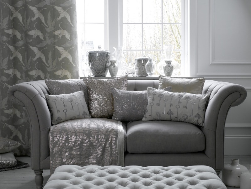 Metallic Silver curtains and soft furnishings in living room